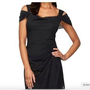Exposed-Shoulder Draped Cap-Sleeve Black Dress